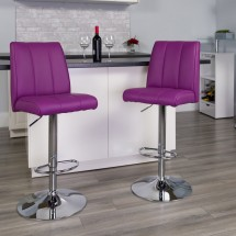 Flash Furniture CH-122090-PUR-GG Contemporary Purple Vinyl Adjustable Height Bar Stool addl-3