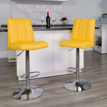 Flash Furniture CH-122090-YEL-GG Contemporary Yellow Vinyl Adjustable Height Bar Stool addl-3