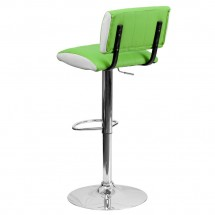 Flash Furniture CH-122150-GRN-GG Contemporary Two Tone Green and White Vinyl Adjustable Height Bar Stool addl-1