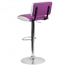 Flash Furniture CH-122150-PUR-GG Contemporary Two Tone Purple and White Vinyl Adjustable Height Bar Stool addl-1