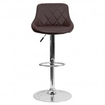 Flash Furniture CH-82028A-BRN-GG Contemporary Brown Vinyl Bucket Seat Adjustable Height Bar Stool addl-2