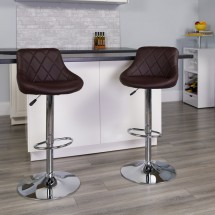 Flash Furniture CH-82028A-BRN-GG Contemporary Brown Vinyl Bucket Seat Adjustable Height Bar Stool addl-3