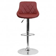 Flash Furniture CH-82028A-BURG-GG Contemporary Burgundy Vinyl Bucket Seat Adjustable Height Bar Stool addl-2