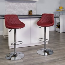 Flash Furniture CH-82028A-BURG-GG Contemporary Burgundy Vinyl Bucket Seat Adjustable Height Bar Stool addl-3