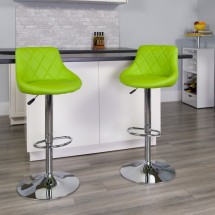 Flash Furniture CH-82028A-GRN-GG Contemporary Green Vinyl Bucket Seat Adjustable Height Bar Stool addl-3