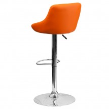 Flash Furniture CH-82028A-ORG-GG Contemporary Orange Vinyl Bucket Seat Adjustable Height Bar Stool addl-1