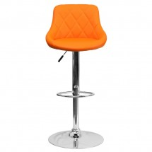 Flash Furniture CH-82028A-ORG-GG Contemporary Orange Vinyl Bucket Seat Adjustable Height Bar Stool addl-2