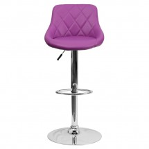 Flash Furniture CH-82028A-PUR-GG Contemporary Purple Vinyl Bucket Seat Adjustable Height Bar Stool addl-2