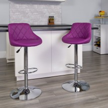 Flash Furniture CH-82028A-PUR-GG Contemporary Purple Vinyl Bucket Seat Adjustable Height Bar Stool addl-3