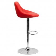Flash Furniture CH-82028A-RED-GG Contemporary Red Vinyl Bucket Seat Adjustable Height Bar Stool addl-4
