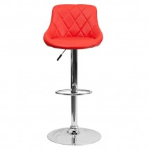Flash Furniture CH-82028A-RED-GG Contemporary Red Vinyl Bucket Seat Adjustable Height Bar Stool addl-2