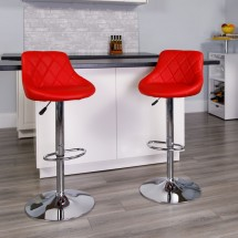 Flash Furniture CH-82028A-RED-GG Contemporary Red Vinyl Bucket Seat Adjustable Height Bar Stool addl-3