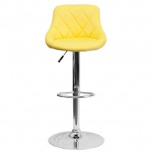 Flash Furniture CH-82028A-YEL-GG Contemporary Yellow Vinyl Bucket Seat Adjustable Height Bar Stool addl-2