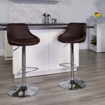 Flash Furniture CH-82028-MOD-BRN-GG Contemporary Brown Vinyl Bucket Seat Adjustable Height Bar Stool addl-3