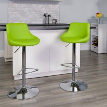 Flash Furniture CH-82028-MOD-GRN-GG Contemporary Green Vinyl Bucket Seat Adjustable Height Bar Stool addl-3