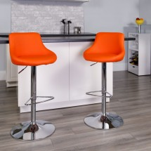 Flash Furniture CH-82028-MOD-ORG-GG Contemporary Orange Vinyl Bucket Seat Adjustable Height Bar Stool addl-3