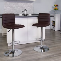 Flash Furniture CH-92023-1-BRN-GG Contemporary Brown Vinyl Adjustable Height Bar Stool addl-3