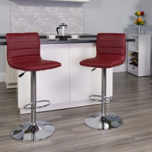 Flash Furniture CH-92023-1-BURG-GG Contemporary Burgundy Vinyl Adjustable Height Bar Stool addl-3
