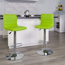 Flash Furniture CH-92023-1-GRN-GG Contemporary Green Vinyl Adjustable Height Bar Stool addl-3