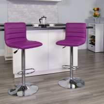 Flash Furniture CH-92023-1-PUR-GG Contemporary Purple Vinyl Adjustable Height Bar Stool addl-3
