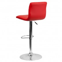 Flash Furniture CH-92023-1-RED-GG Contemporary Red Vinyl Adjustable Height Bar Stool addl-1