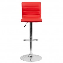 Flash Furniture CH-92023-1-RED-GG Contemporary Red Vinyl Adjustable Height Bar Stool addl-2