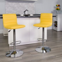Flash Furniture CH-92023-1-YEL-GG Contemporary Yellow Vinyl Adjustable Height Bar Stool addl-3