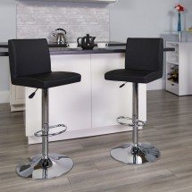 Flash Furniture CH-92066-BK-GG Contemporary Black Vinyl Adjustable Height Bar Stool addl-3