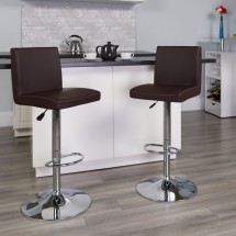 Flash Furniture CH-92066-BRN-GG Contemporary Brown Vinyl Adjustable Height Bar Stool addl-3