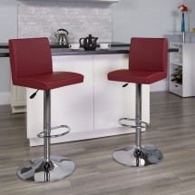 Flash Furniture CH-92066-BURG-GG Contemporary Burgundy Vinyl Adjustable Height Bar Stool addl-3