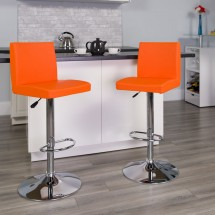 Flash Furniture CH-92066-ORG-GG Contemporary Orange Vinyl Adjustable Height Bar Stool addl-3