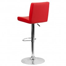 Flash Furniture CH-92066-RED-GG Contemporary Red Vinyl Adjustable Height Bar Stool addl-1