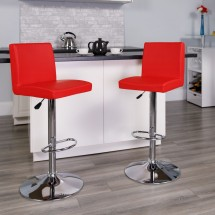 Flash Furniture CH-92066-RED-GG Contemporary Red Vinyl Adjustable Height Bar Stool addl-3
