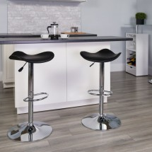 Flash Furniture CH-TC3-1002-BK-GG Contemporary Black Vinyl Adjustable Height Bar Stool addl-3