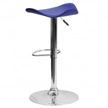 Flash Furniture CH-TC3-1002-BL-GG Contemporary Blue Vinyl Adjustable Height Bar Stool addl-1