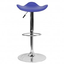 Flash Furniture CH-TC3-1002-BL-GG Contemporary Blue Vinyl Adjustable Height Bar Stool addl-2