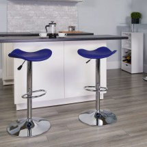 Flash Furniture CH-TC3-1002-BL-GG Contemporary Blue Vinyl Adjustable Height Bar Stool addl-3