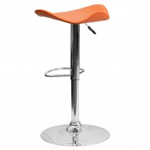 Flash Furniture CH-TC3-1002-ORG-GG Contemporary Orange Vinyl Adjustable Height Bar Stool addl-1