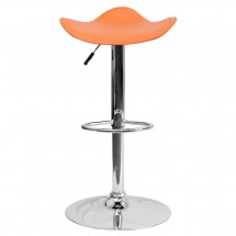Flash Furniture CH-TC3-1002-ORG-GG Contemporary Orange Vinyl Adjustable Height Bar Stool addl-2