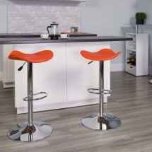Flash Furniture CH-TC3-1002-ORG-GG Contemporary Orange Vinyl Adjustable Height Bar Stool addl-3
