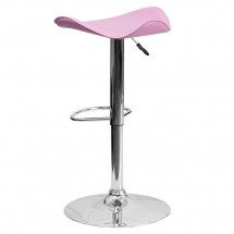 Flash Furniture CH-TC3-1002-PK-GG Contemporary Pink Vinyl Adjustable Height Bar Stool addl-1