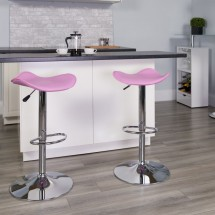 Flash Furniture CH-TC3-1002-PK-GG Contemporary Pink Vinyl Adjustable Height Bar Stool addl-3