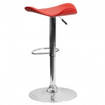 Flash Furniture CH-TC3-1002-RED-GG Contemporary Red Vinyl Adjustable Height Bar Stool addl-1