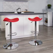 Flash Furniture CH-TC3-1002-RED-GG Contemporary Red Vinyl Adjustable Height Bar Stool addl-3