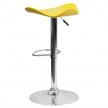 Flash Furniture CH-TC3-1002-YEL-GG Contemporary Yellow Vinyl Adjustable Height Bar Stool addl-1