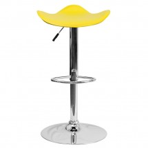 Flash Furniture CH-TC3-1002-YEL-GG Contemporary Yellow Vinyl Adjustable Height Bar Stool addl-2