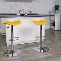 Flash Furniture CH-TC3-1002-YEL-GG Contemporary Yellow Vinyl Adjustable Height Bar Stool addl-3