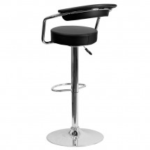 Flash Furniture CH-TC3-1060-BK-GG Contemporary Black Vinyl Adjustable Height Bar Stool with Arms addl-1