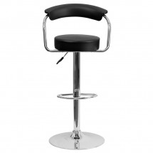 Flash Furniture CH-TC3-1060-BK-GG Contemporary Black Vinyl Adjustable Height Bar Stool with Arms addl-2