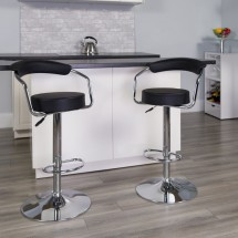 Flash Furniture CH-TC3-1060-BK-GG Contemporary Black Vinyl Adjustable Height Bar Stool with Arms addl-3